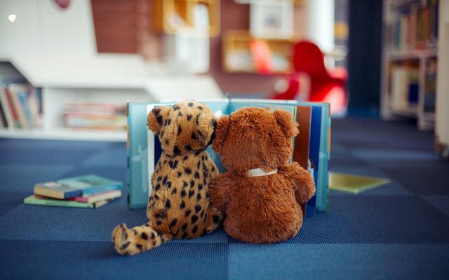 bilde av bamser i biblioteket