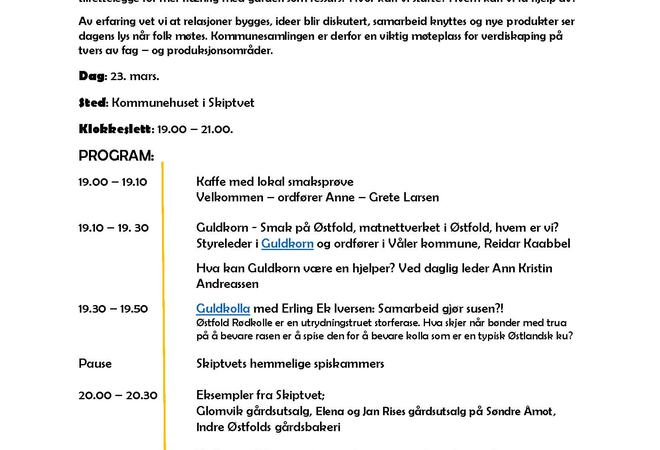 Invitasjon til mat og landbruksamling Skiptvet kommune