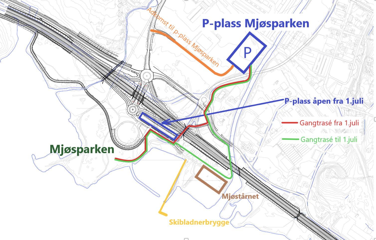 Kart over Mjøsparken
