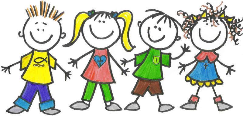 Cartoon kindergarten kids