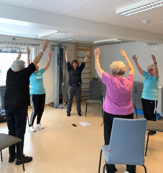 Full aktivitet på treningsrommet på Byparken seniorsenter
