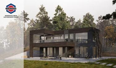 Illustrasjonsbilde av moderne enebolig på Jessnes i Ringsaker kommune