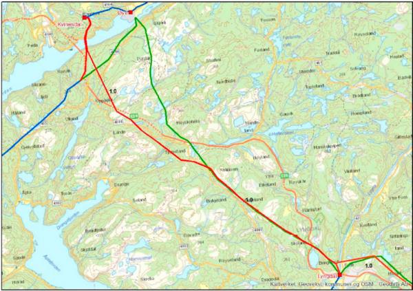 Kart som viser trase for ny ledning